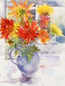 Dahlias in the window